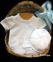 NWT Will'beth White Knit Airplane Diaper Set Preemie 00 Baby Boys Hat Booties