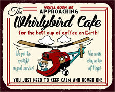(VMA-L-6693) Whirlybird Cafe Vintage Metal Art Retro Helicopter Tin Sign