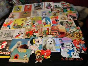 LOT #2 - 50 MOSTLY VINTAGE GREETING CARDS FEATURING DOGS = CHRISTMAS/BIRTHDAY++