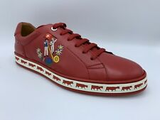 $600 Bally Animals Red Leather Sneakers size US 12 Made in Switzerland