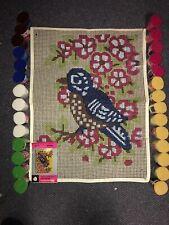 Vintage Spinnerin Spring Song Pattern Latch Hook Rug & 28 Pks Yarn