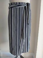 Ladies WRAP stripe SKIRT size 16 white MIDI high waisted NEW - FREE POST