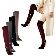 Over the Knee Boots Women Pointed Toe Velvet Thigh High Stilettos Shoes 44/50 L