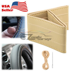 Beige Line PVC Leather DIY Car Steering Wheel Cover With Needles and Thread