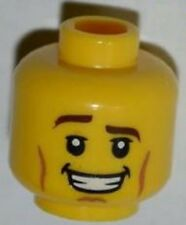 LEGO - Minifig, Head Male Brown Eyebrows, Raised Right Eyebrow, Cheek Lines