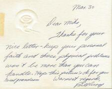 Bill Curry Signed Handwritten Letter Packers