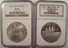 LOT OF 2 2002-W WEST POINT SILVER $1 NGC PF 70UCAM & MS 70 GEMS LQQK