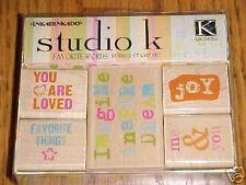 K&C STUDIO K FAVORITE WORDS Inkadinkado Rubber Stamp Set 94133 Brand NEW! Set/5
