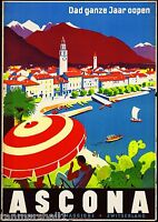 Ascona Switzerland Europe European Vintage Travel Advertisement Art Poster