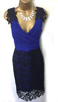 Lipsy Wrap Bodycon Dress 10 Blue Crochet Lace Ruched  Embroidered Midi Party