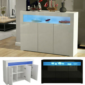 Large LED Sideboard Buffet Cabinet High Gloss Cupboard TV Stand Unit Furniture