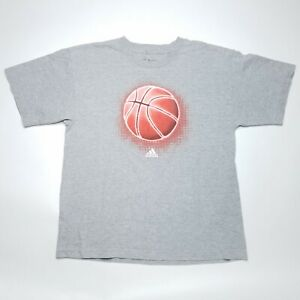 Adidas Basketball Graphic Gray Short Sleeve T-Shirt Kid's/Youth Size Extra L  XL