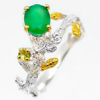 Fine Art Jewelry Gift Natural Green Aventurine 925 Sterling Silver Ring / RVS219
