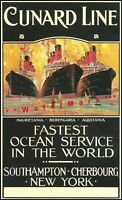 Cunard Ship Line 1910 Fastest Ocean Service Vintage Poster Print Retro Style Art
