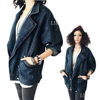 Korea BF Style Women Ladies Denim Jacket Jeans Coat Long Sleeve Outerwear Cowboy