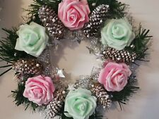 Hanging Christmas Wreath Pale Light Green & Pink with White Cones / 30cm