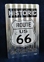 ROUTE 66 *US MADE* Corrugated Metal Sign - Man Cave Garage Shop Bar Wall Decor