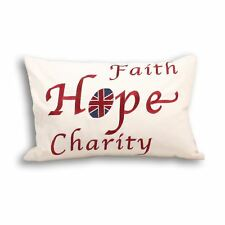 UNION JACK FAITH HOPE EMBROIDERED 100% COTTON CREAM FILLED CUSHION 35 X 50CM