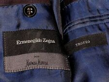 Ermenegildo Zegna ~ TREFEO ~ 100% Wool 3 Button Blue w/ Windowpane Suit 50L 50 L