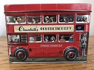 Vintage 1999 Churchill's Confectionery Double Decker London Bus Tin Piggy Bank