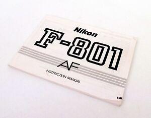 Nikon F-801 AF Instruction Manual, UK Dealer
