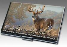 American Expedition Whitetail Deer Buck Stainless Steel Business Card Holder NEW
