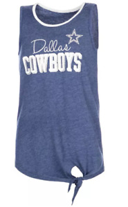 NFL Dallas Cowboys Girls' Jade Side Knot Tank Top - Denim Blue - C351