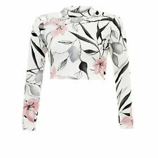 Unbranded Polo Neck Stretch Floral Tops & Shirts for Women