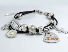 KELLY Cuir Charme Bracelet 18k Plaqué Or - Cadeaux pour elle Bijoux Personnalisé