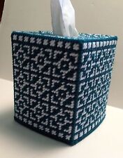 Mosaic Tissue Cover Teal Blue & White handmade Boutique size