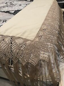 PIANO SHAWL Tablecloth SCARF w Fringe ivory