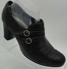 Clarks Artisan Black Leather Slip On Buckle High Heel Ankle Boots Booties 8.5 M