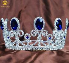 """Royal Blue Crystal 3.5"""" Tiara Beauty Pageant Crown Wedding Bridal Party Costumes"""