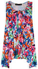 Ladies Sleeveless Floral Swing Top New Womens Plus Size Vest Top Tee Size 16-32