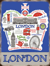 London, Retro Vintage Aluminium Sign Gift