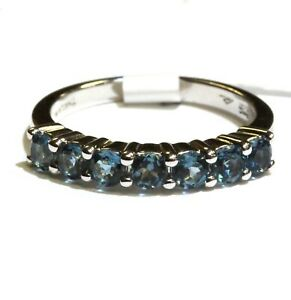 New 925 Sterling Silver blue topaz 7 stone womens band ring 2.5g ladies