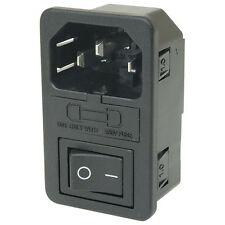 Fused Switched IEC Mains Inlet Socket Compatible With Audio Equipment Push Fit