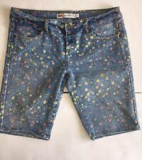 Levis Bermuda Denim Jean Shorts SZ 9 Artist Paint Levi Strauss Embroider Pockets