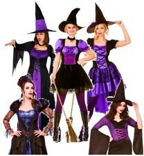 Ladies PURPLE WICKED WITCHES Fancy Dress Halloween Spooky Costumes Size 8-24
