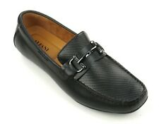 NEW ALFANI BLACK WOVEN LEATHER WITH BIT LEN DRIVER LOAFERS SHOES SIZE 10.5