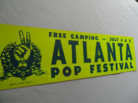 1969 ATLANTA POP FESTIVAL__Original BUMPER STICKER__Led Zeppelin,JanisJoplin,CCR