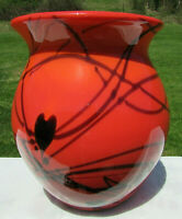 Fenton RARE Bittersweet Orange Hanging Hearts Vase BY Dave Fetty #179/750