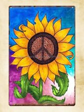 Us Seller - kitchen plaques advertisings peace sign sunflower metal tin sign