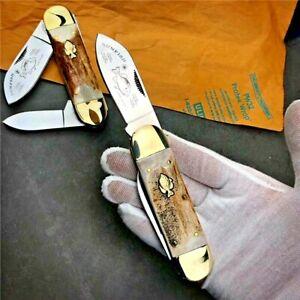 Drop Point Folding Knife Pocket Hunting Survival Combat Antler Handle Dual Blade
