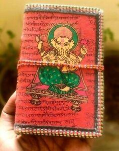 Reddish Ganesh Embossed Paper Diary Handmade Writing Journal Notebook Unlined
