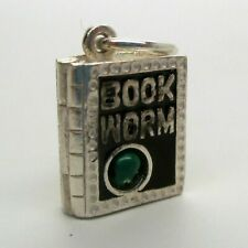 Sterling Silver & Enamel BOOKWORM CHARM Read to Succeed MOVEABLE Pendant VINTAGE