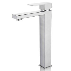 Lead Free Tall Basin Mixer Tap High Rise Bathroom Sink Faucet Brushed Square