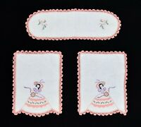 Vintage 3 Piece Hand Embroidered Lady in Gown Crochet Linen Dresser Chair Set