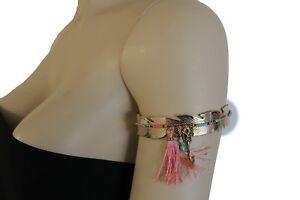 Women Gold Metal Leaf Cuff Upper Arm High Ethnic Bracelet Arrow Fabric Fringes