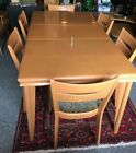 Vintage Heywood-Wakefield Jr Dining Table (M189) w/Leaf + 6 Chairs(M151A)